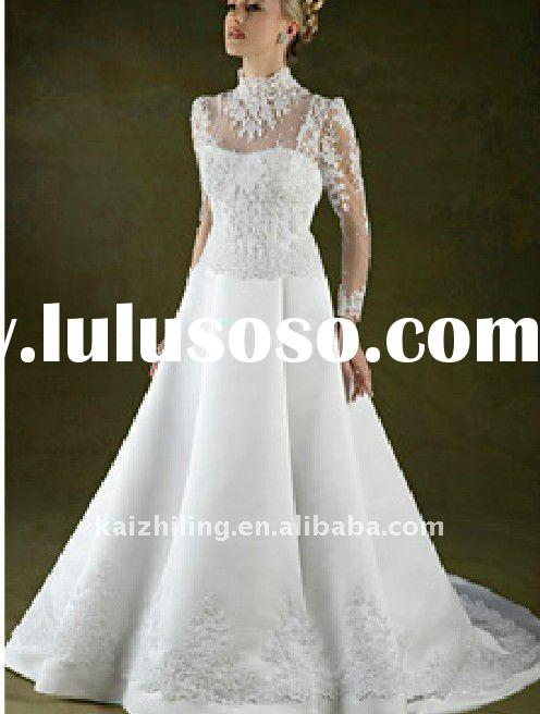 long sleeve high neck lace applique elegant wedding dress 2011 hot sell