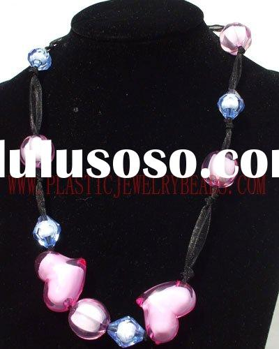 mix color acrylic necklace, colorful heart beads necklace, round ball beads necklace