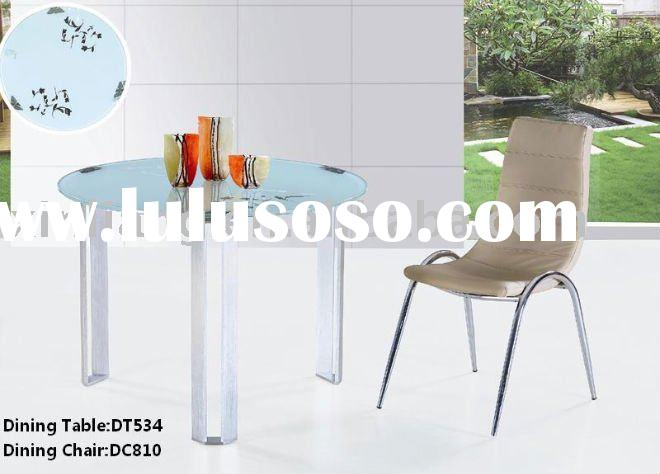 modern tempered glass round dining table