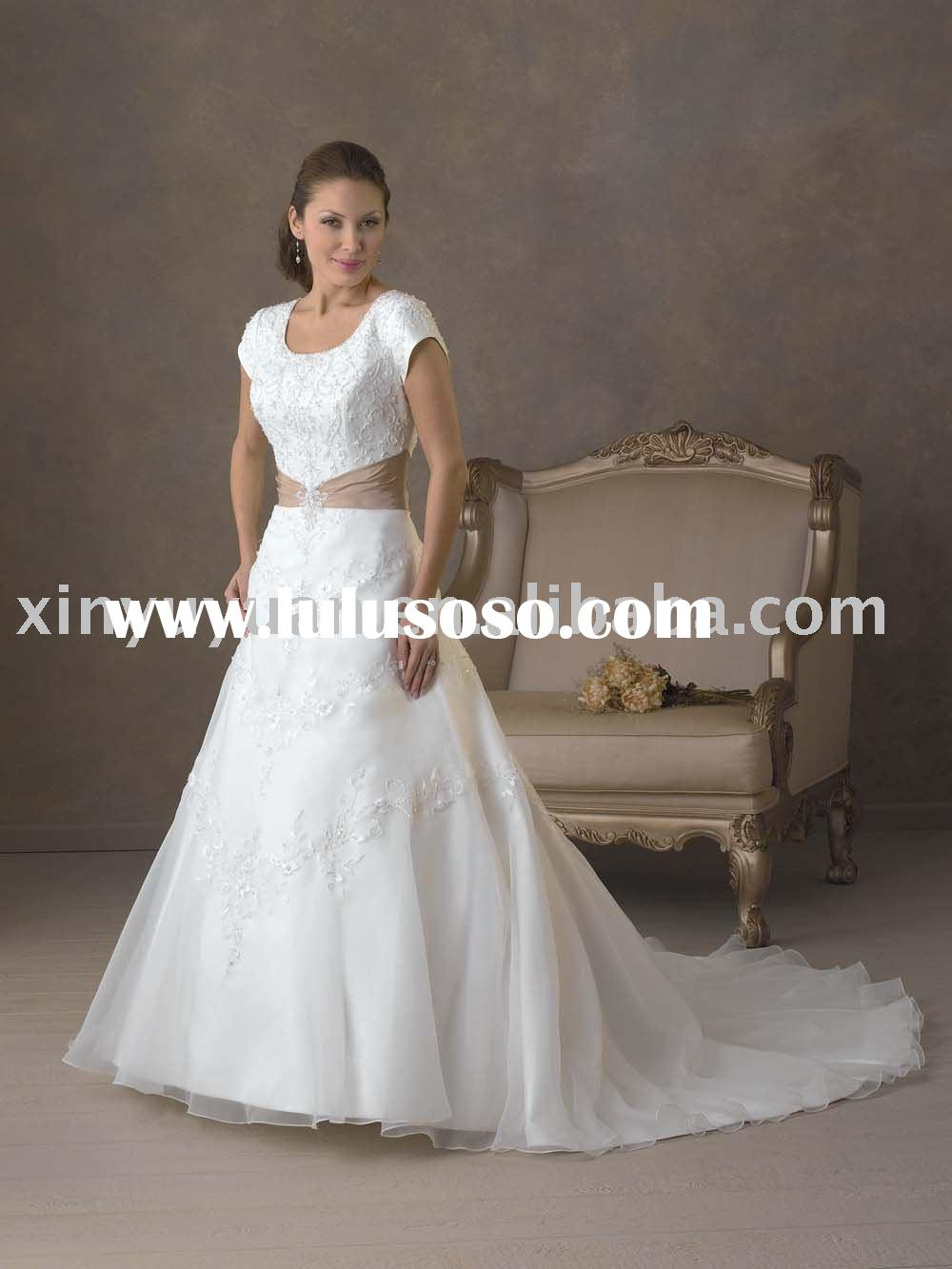 modest and vintage short sleeves wedding dresses with pleats BOW-105