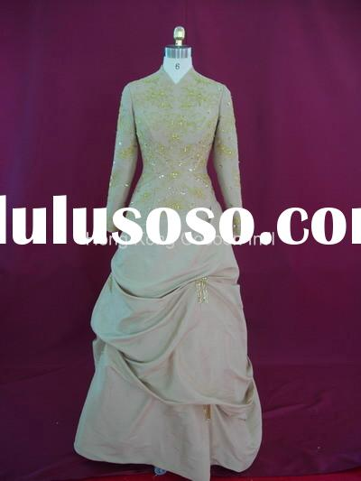 modest wedding dress with Long sleeve and high neck