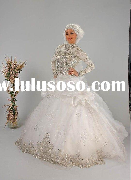 muslim long sleeves high neck crystals wedding dresses ball gowns SHS313