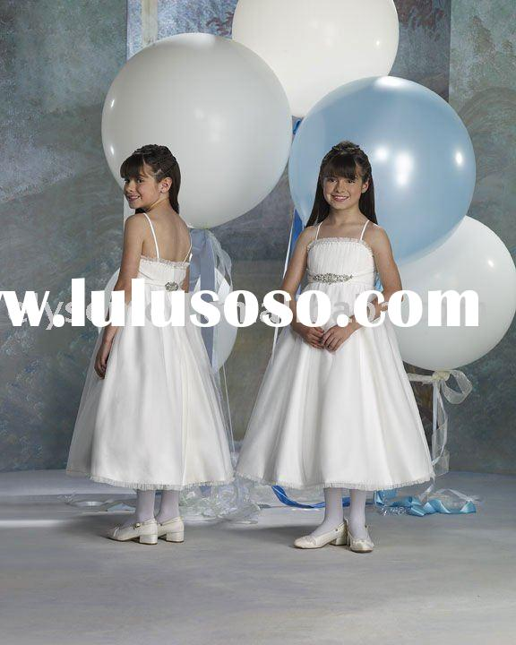 new design A-line spaghetti straps taffeta and organza white children bridesmaid dresses