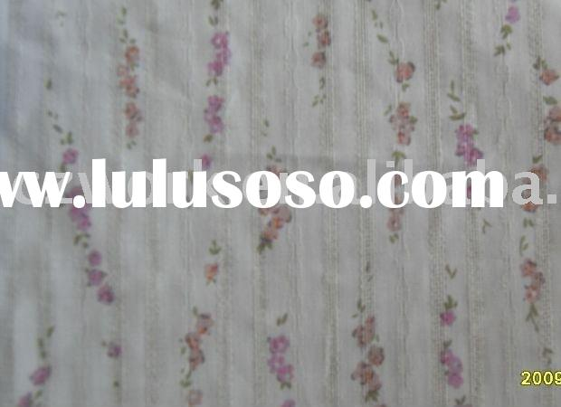 poly/cotton jacquard printed yarn dyed fabric for ladies' clothing