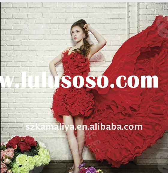 red spaghetti strap handmade flower haute couture wedding dress