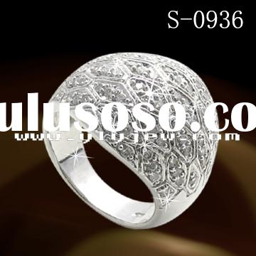 rhodium plated ring /fashion jewelry/925 sterling silver ring