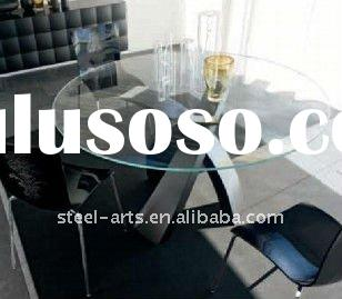 rounded glass dining table