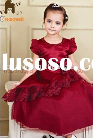 royal wine red satin lace embroidery short sleeves flower girl dress H10176