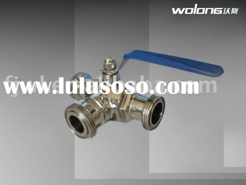 sanitary stainless steel manual male three-way ball valve