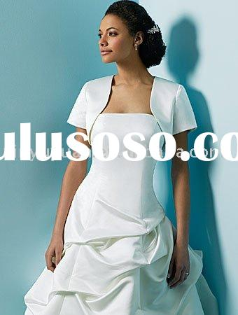 simple and discount short sleeves wedding dress jackets with collar WDJ-010
