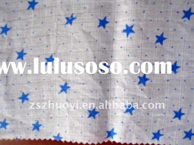 single layer printed muslin gauze fabric