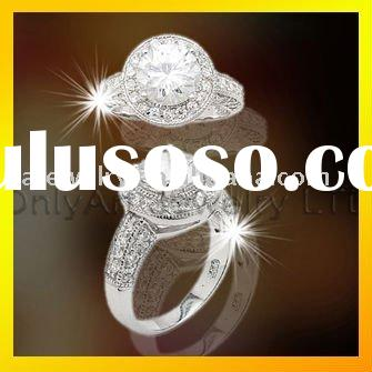 special custom 925 silver cubic zirconia jewelry with big AAA CZ for engagment, paypal accepted