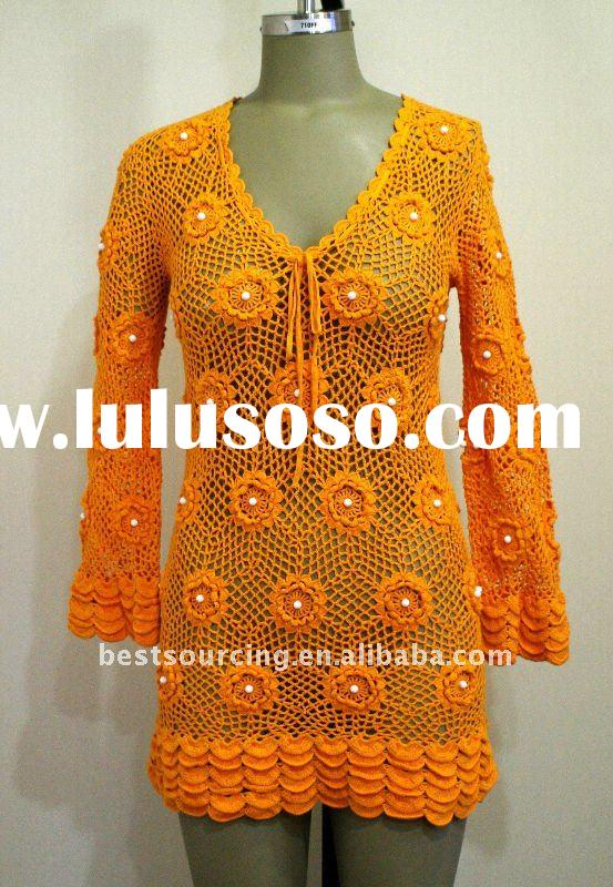spring summer women's crochet top 100% cotton knitted v neck long sleeve lady tunic pullover