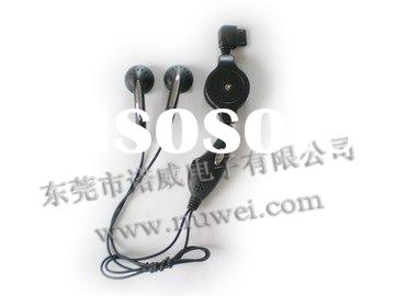 stereo retractable earphone with mic and volume control