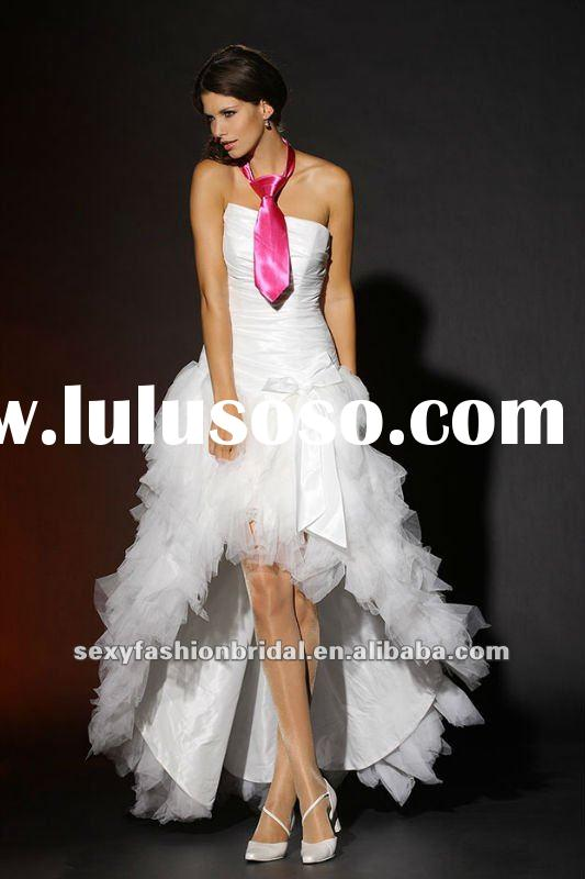 strapless ruffle organza 2011 short front long back wedding dress
