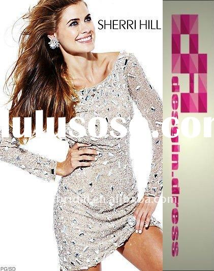 top fashion hot high scoop long sleeve sequins dress with beaded special occasion homecoming sherri