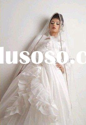 unique lace ruffle long sleeve satin AN-WD-1766 muslim/islamic wedding/bridal dress