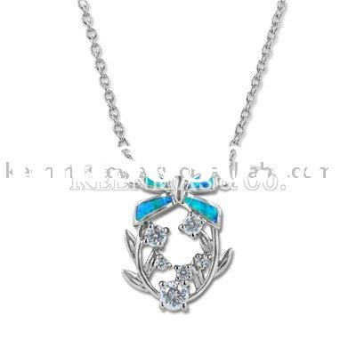 unique starfish style 925 sterling silver opal necklace