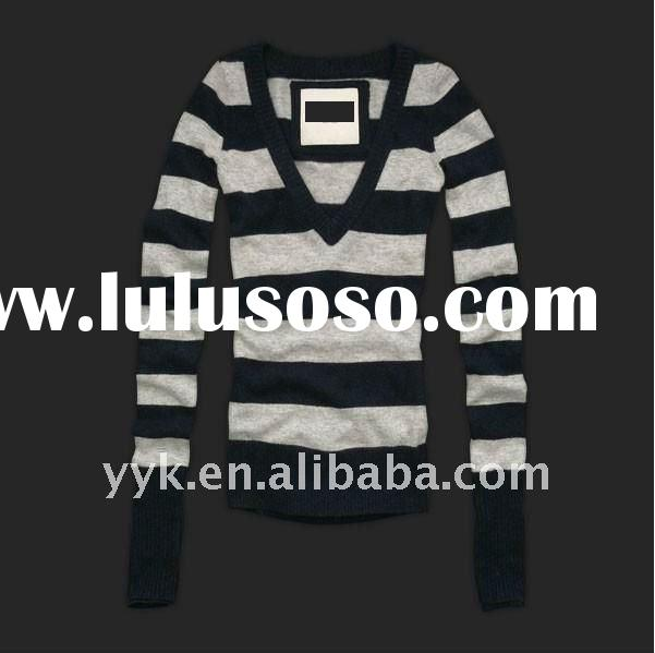 v neck black and white striped cotton shirts for women
