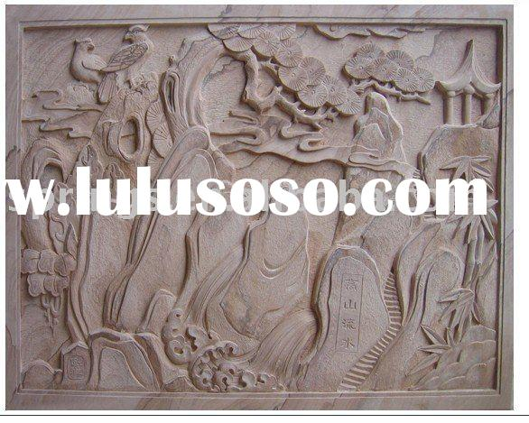 Wall relief sculpture peony flower carving for sale