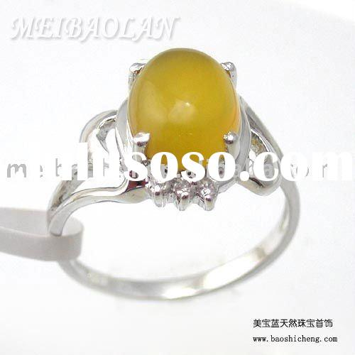 wholesale925 sterling silver natural agate ring