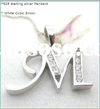 wholesale costume jewelry,925 silver letter M pendant