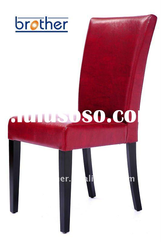 wooden chair for restaurant, red leather restaurant chair/cafe chair