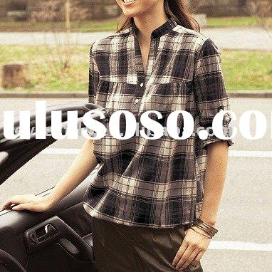 yarn-dyed checked cloth ladies shirt