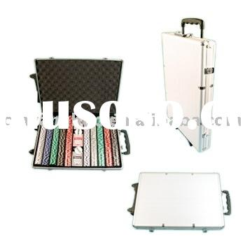 1000pcs Poker Chip Set IN RACK WITH SLIDE STURDY ALUMINUM CASE