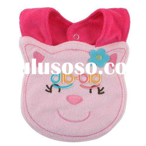 100% COTTON Embroider dog baby bib with waterproof
