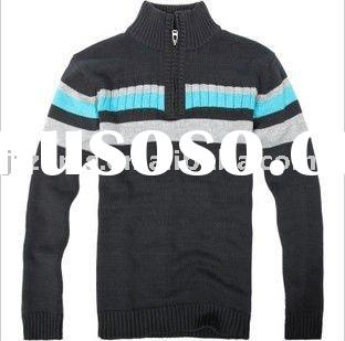 100%cotton men knitted striped pullover sweater