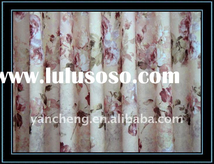 100% jacquard polyester printed fabric beaded curtain room divider