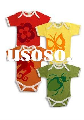100% organic cotton/ soft handfeel/ eco-friendly baby rompers