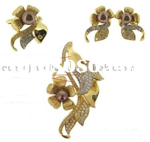 18k solid yellow gold jewelry set with cubic zirona, retail and wholesale,factory&manufacture