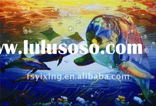 """1""""x1"""" dolphin iridescent tile glass mosaic mural for glass mosaic tiles for swimming pool"""