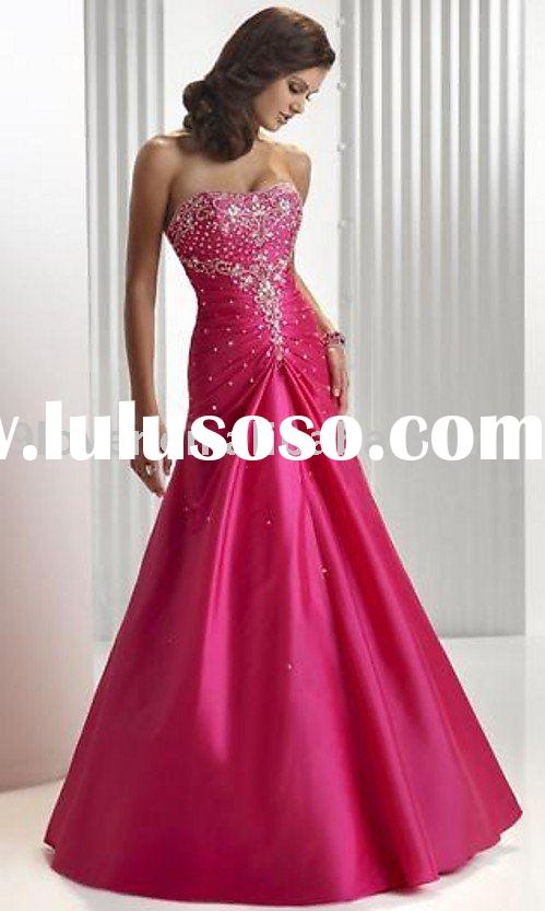 2010 Hot Pink Sweet Sixteen Satin Beading and Embroidery ED032 Prom Dress