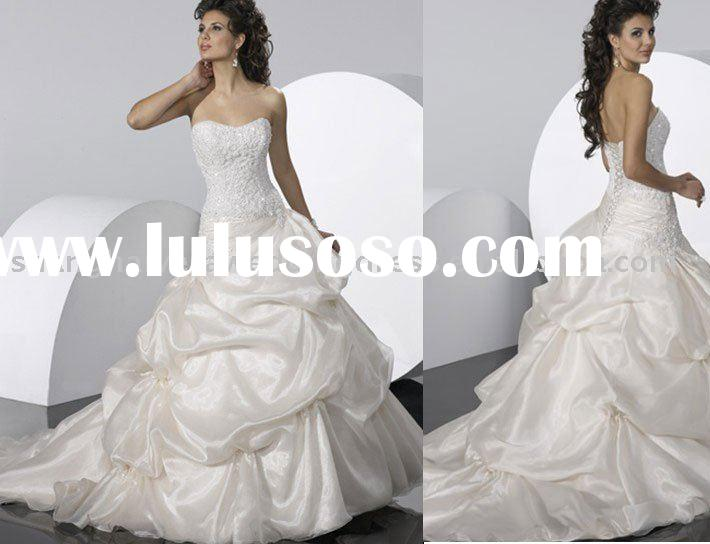 2010 New Design Best Sell Organza White Wedding Dress Bridal Gowns WD-0211