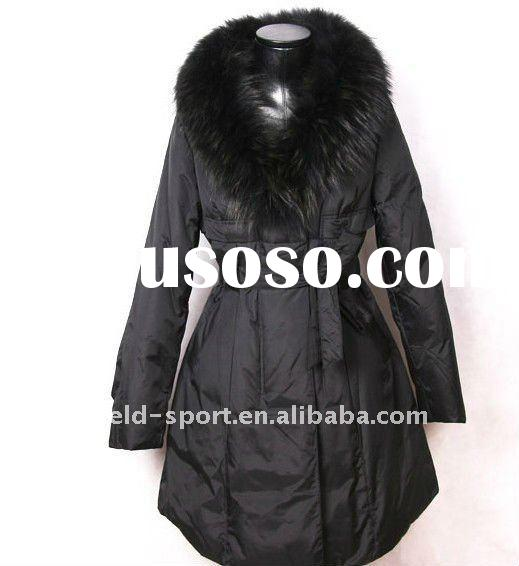 2011 Brand Fashion Women Down Coats and Jackets Brown with Fur Collar long Style