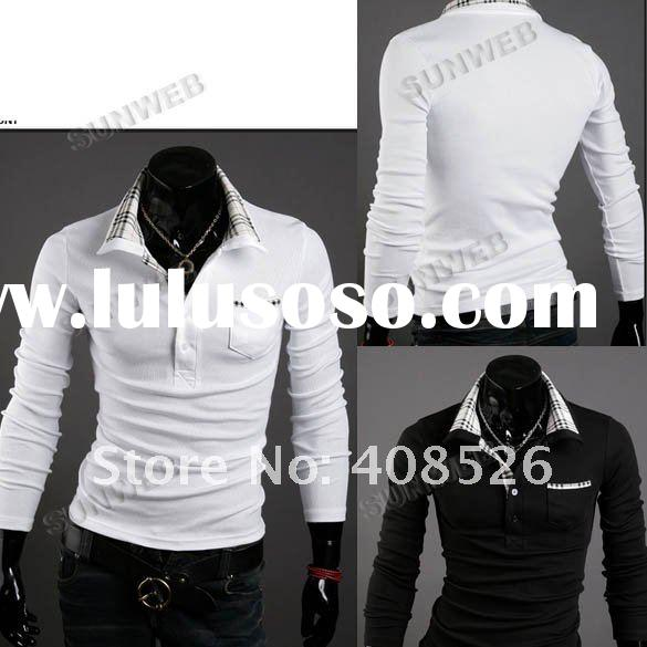 2011 New Casual Men's Stylish polos Slim Long Sleeve T-Shirt Fit Checked tops