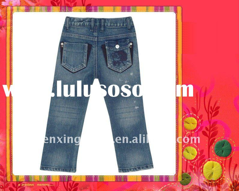 2011 New design lovely and soft denim jeans for kids