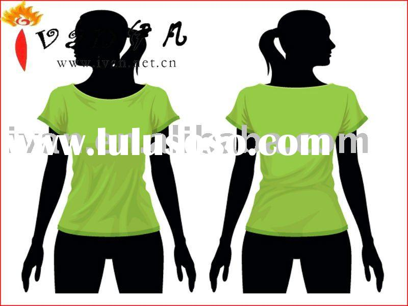 2011 Newest Design 100% Cotton Fashion Women Plain T-shirt