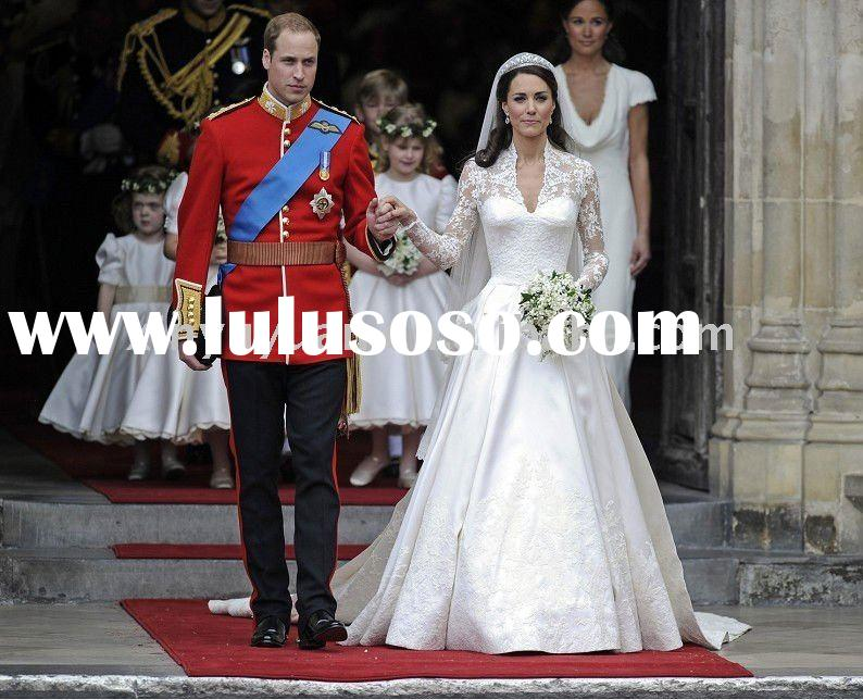 2011 Stunning Roral A-line Cathedral long Sleeves lace satin wedding gowns RWD-001