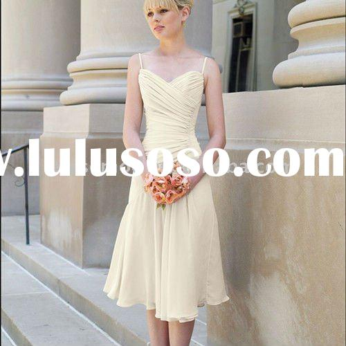 2011 Styles Tea-Length Spaghetti Straps Yellow Chiffon Bridesmaid Dresses