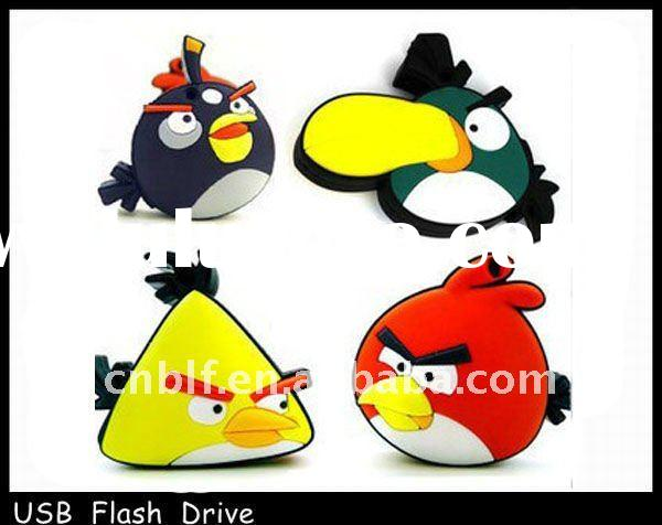 2011 fashion design cartoon character usb flash drive brid shape