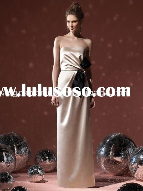 2011 gold satin strapless long style elegant cheap western bridesmaid dress M5056
