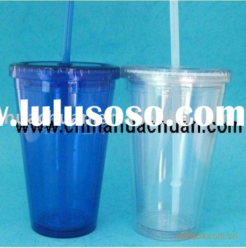 2011 hot sale double wall insulated plastic tumbler with straw