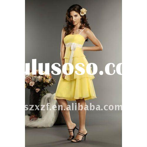 2011 hot sell elegant yellow chiffon white sash spaghetti strap tea-length bridesmaid dress wedding