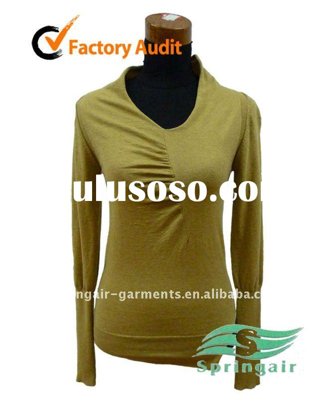 2011 ladies fashion knitted V-neck pullover