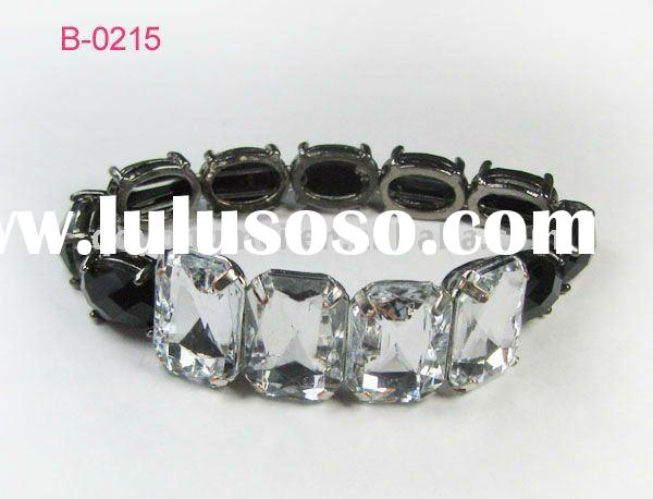 2011 most fashion costume jewelry black nickel plated metal pave large crystal stretch bracelet