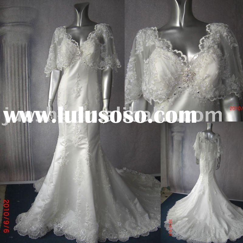 2011 new collection short sleeve mermaid muslim wedding dress y-400